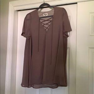 SMYM Lace Up Mauve Tunic Dress